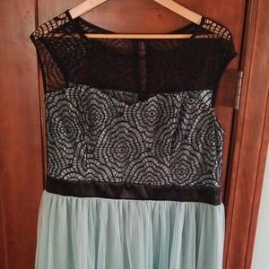 Mint and Black Lace Party Cocktail Dress